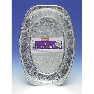14 Silver Foil Platter for Disposable Party Tableware by Monster Parties