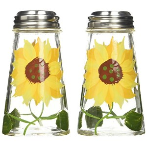 Grant Howard Hand Painted Tapered Salt and Pepper Shaker Set, Sunflowers, Yellow by Grant Howard
