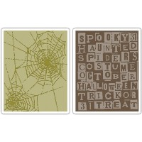 Sizzix Texture Fades A2 Embossing Folders 2/Pkg-Halloween Words & Cobwebs By Tim Holtz (並行輸入品)
