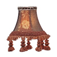Livex Lighting S124 Bell Clip Chandelier Shade with Tassels, Burgundy Floral by Livex Lighting