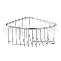 InterDesign Suction Bathroom Shower Caddy Corner Basket for Shampoo, Conditioner, Soap - Stainless...