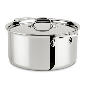 All-Clad 4508 Stainless Steel Tri-Ply Bonded Dishwasher Safe Stockpot with Lid / Cookware, Silver...
