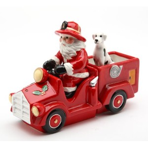コスモスSanta on Firetruck Salt and Pepper Set , 5.6-inch Long