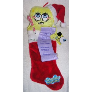 Spongebob Squarepants Plush Red & Yellow Spongebob Christmas Stocking with Holiday Gift List by...