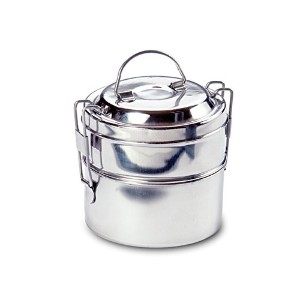 Rome 2663 Stainless Steel 2-Tier Mini Round Tiffin Food Carrier, 4 by 4-Inch by Rome
