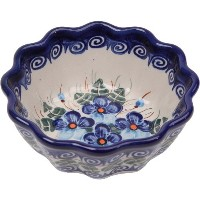 Polish Pottery Ceramika Boleslawiec, 0432/162, Bowl Babka Small, 1/2 Cup, Royal Blue Patterns with...
