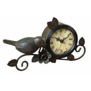Creative Co-op Shabby Cottage Chic Metal Bird Desk Clock Home Decor by Creative Co-op