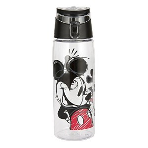 Zak! Designs Tritan Water Bottle with Flip-top Cap with Mickey Mouse Graphics, Break-resistant and...