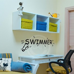 Swimmer Decal wall saying vinyl lettering art decal quote sticker home decal by Wall Sayings Vinyl...