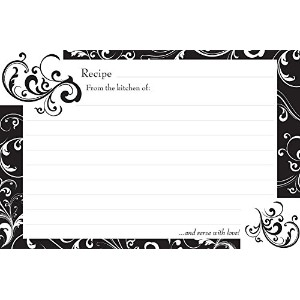 Brownlow Kitchen 35554 Gifts Recipe Cards, Black and White 36 4 x 6 by Brownlow Kitchen