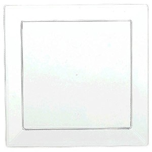 Amscan Washable Plastic Mini Square Plate (40 Pack), 5 x 5, Clear by Amscan