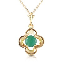 """K14 Solid Gold 18"""" Necklace with Emerald bud"""
