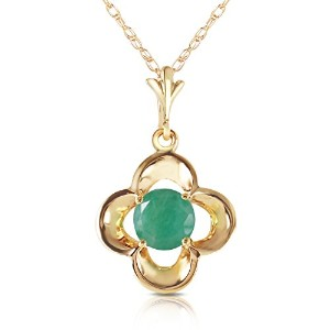 "K14 Solid Gold 18"" Necklace with Emerald bud"