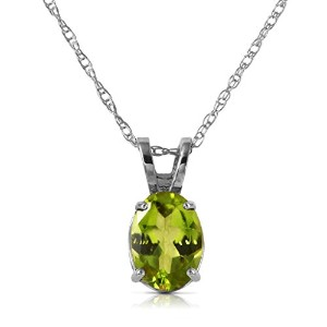 "K14 White Gold 18"" Necklace with Oval Peridot Pendant"