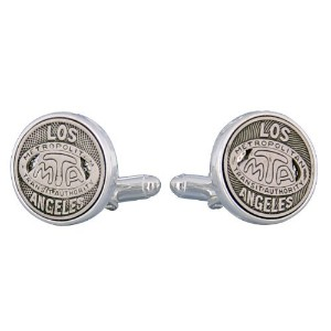 Los Angeles Transit Token Cufflinks Clad inスターリングシルバーCuff - Daddy