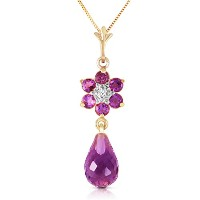 "K14 Yellow Gold 18"" Necklace with Amethyst Flower Pendant"