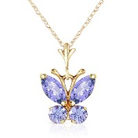 """K14 Yellow Gold 18"""" Necklace with Tanzanite Butterfly Pendant"""