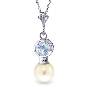 """K14 White Gold 18"""" Aquamarine and Cultured Pearl Pendant Necklace"""