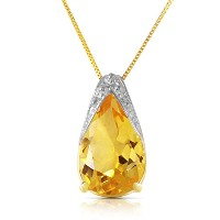 """K14 Yellow Gold 18"""" Necklace with Citrine Pendant"""