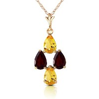 """K14 Yellow Gold 18"""" Necklace with Pear-shaped Citrines and Garnets"""