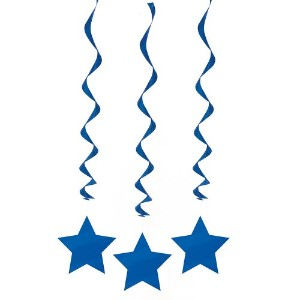 Blue Star Hanging Decorations, 3ct by Unique [並行輸入品]