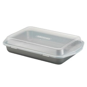 Circulonテフロン加工の耐熱皿9-inch-by-13-inch長方形Cake Pan with Lid One Size グレー 57968