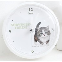 Tatarooga Design 放水時計 Waterproof Clock 猫時計 (Norwegian Forest Cat)