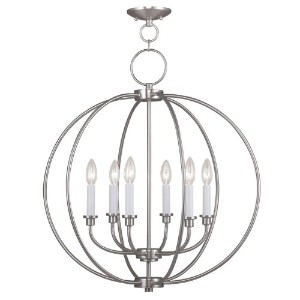 Livex Lighting 4666-91 Milania 6-Light Chandelier, Brushed Nickel by Livex Lighting