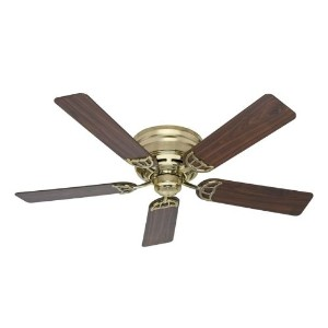 Hunter 53070, 52-Inch Low Profile III Bright Brass Flush Mount Ceiling Fan by Hunter Fan Company