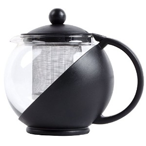 Tempered Glass Tea Pot w/ Removable Steel Infuser by Pride Of India (3-Cup Glass Tea Pot 739ml ...