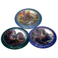 Thomas Kinkadeウィンドウ/パティオドア画面セーバーMagnets–Set of 3: Forest Chapel , Mountain Retreat、Theライトof Peace