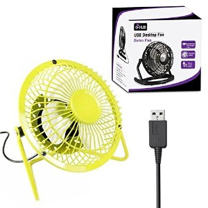 "4"" Retro USB Desk Fan YELLOW Aluminium Portable Desk Fan (4インチレトロ調イエローUSB扇風機)"