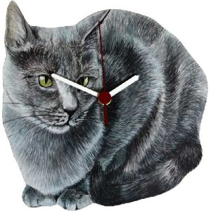 Lark Rise Designs Wooden Clock(クロック)・時計 Gray Cat LRC16