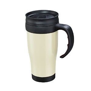 Cilio - Insulated Thermic Car Mug - Double Walled to Keep Drinks Warmer Longer - 0.4l - Cream/Black