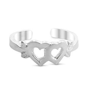 925 Sterling Silver Joined Hearts Toe Ring (Resizable)