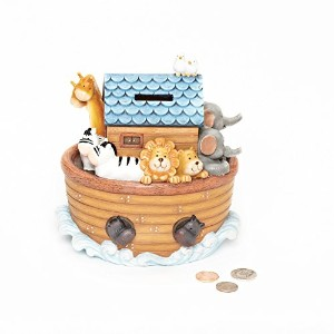 """Roman Exclusive """"Noah's Ark"""" Children's Piggy Bank Features The Animals on Board and a Slot on Top..."""