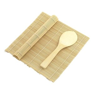 Yellow/Yellow Bamboo Sushi Rolling Kit Mat With Rice Paddle Set by JapanBargain