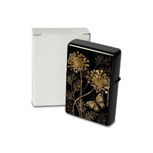 Petrol lighter ライター Printed in black butterfly flower gold