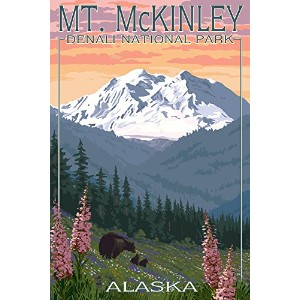 Bear andカブスSpring Flowers–MT。McKinley–デナリ国立公園、アラスカ 24 x 36 Giclee Print LANT-42205-24x36