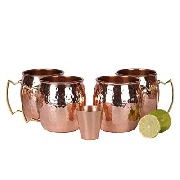A29 Moscow Mule 100 % Solid Pure Copper Unlined Mug /Cup (16-Ounce/Set of 4, Hammered) with BONUS...