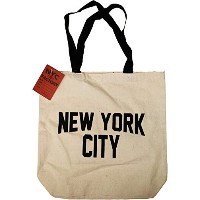 NYC Tote Bag Canvas New York City Gift Souvenir Black Straps by NYC FACTORY