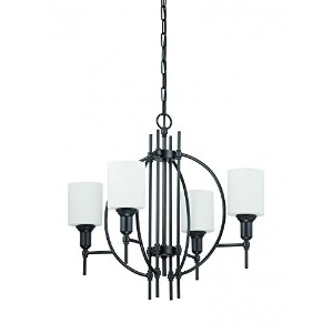 Jeremiah 37224-ESP Meridian 4 Light Chandelier with White Opal Glass, Espresso by Jeremiah