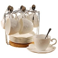 Porcelain Tea Cup and Saucerコーヒーカップセットwith Saucer andスプーン20pc、6のセットsi-bfly-w