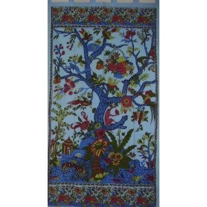 Tree of Lifeタブトップcurtain-drape-door panel-blue