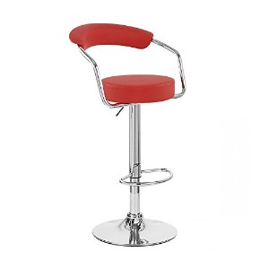 Zool Contemporary Adjustable Faux Leather Barstool - Cherry Red