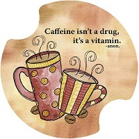 Thirstystone Caffeine is a Vitamin Car Cup Holder Coaster, by Thirstystone