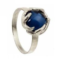 【宅配便発送指定】House of Harlow 1960 (ハウスオブハーロウ1960) Antler Button Ring Silver with Blue Cabachon サイズUS5 ...