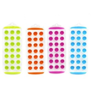 Set of 4 - 11'' Easy push Pop Out round mini Ice Cube Trays with flexible silicone bottom by CAS