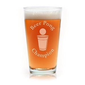 Beer Pong Champion Engraved Pint Glass by Glass With a Twist