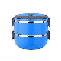 Bento Lunch Box - Lunch Containers - 2 Tier Tiffin Round Vacuum Seal Lid - Stainless Steel Interior...
